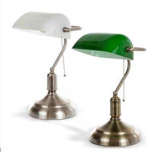 κλασικό φωτιστικό γραφείου bankers με πράσινο γυαλί