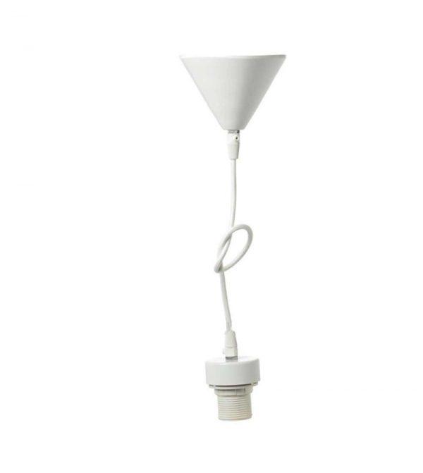Ανάρτηση φωτιστικού μεταλλική λευκή + υφασμάτινο καλώδιο λευκό + πλαστικό ντουΐ