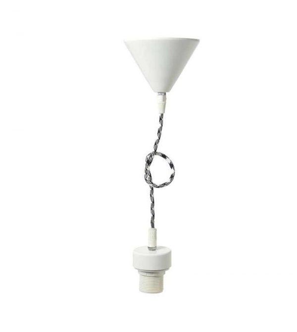 Ανάρτηση φωτιστικού μεταλλική λευκή + υφασμάτινο καλώδιο λευκό/μαύρο + πλαστικό ντουΐ