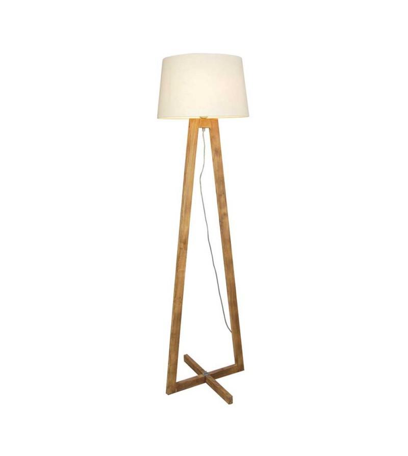 Φωτιστικό δαπέδου με ξύλινη βάση και λευκό καπέλο αμπαζούρ d03fd223014