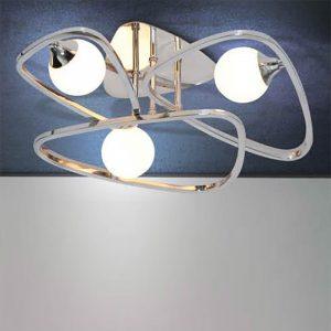 Φωτιστικό οροφής μοντέρνο σε χρώμιο με γυαλιά οπαλίνα