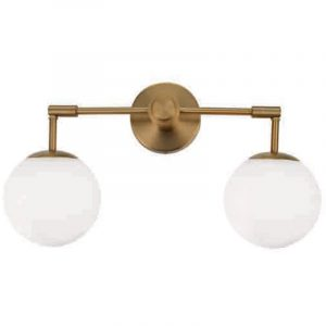Φωτιστικό απλίκα με χρυσό ματ και γυαλί οπαλίνα 2φωτη