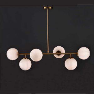 Φωτιστικό κρεμαστό με χρυσό ματ και γυαλί οπαλίνα 6 φωτο