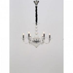 Φωτιστικό κρεμαστό πολυέλαιος Μουράνο διάφανο / λευκό 6φωτο