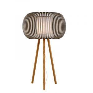 Φωτιστικό επιτραπέζια λάμπα με καπέλο λευκό με μπεζ 1φωτη