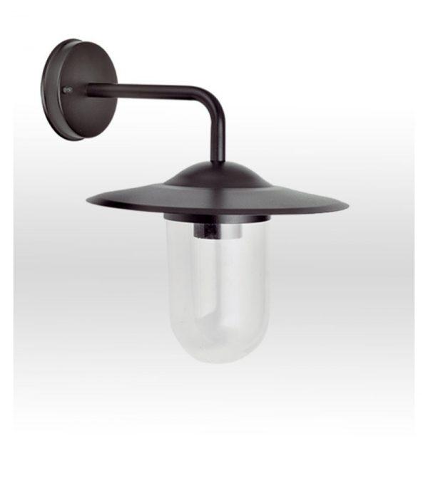 Φωτιστικό απλίκα ανοξείδωτο σε μαύρο με σκιάδιο από γυαλί 1φωτο